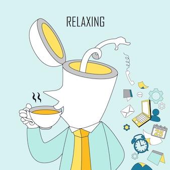 Conceito relaxante: um homem está bebendo café em estilo de linha