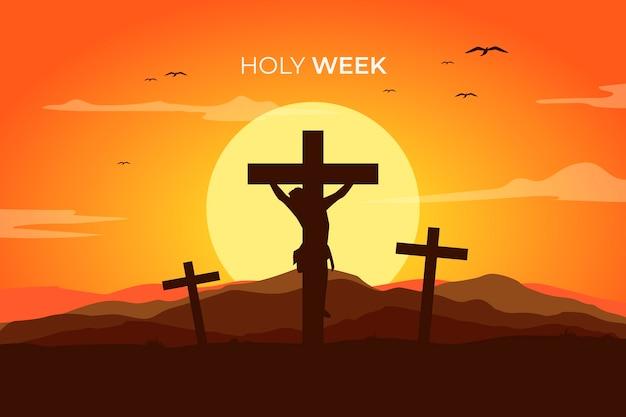 Conceito religioso de semana santa de design plano