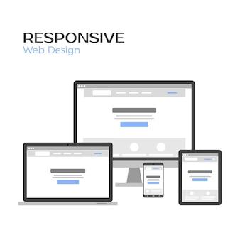 Conceito responsivo web design. visualização da página de destino na tela de gadgets. isolado no branco