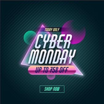 Conceito retro futurista de cyber segunda-feira