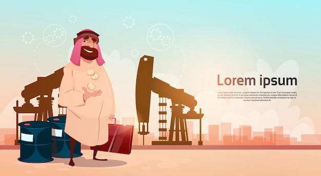 Conceito rico da riqueza do preto da plataforma do equipamento de pumpjack do comércio do óleo do homem de negócio de arab arab business