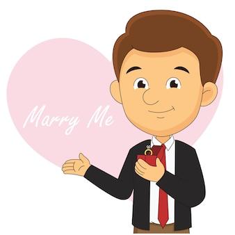 Conceito romântico com homem fazendo pedido de casamento, feliz dia dos namorados