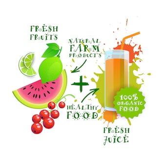Conceito saudável dos produtos agrícolas da exploração agrícola do logotipo natural fresco da mistura do cocktail do suco