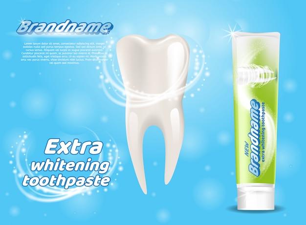 Conceito saudável extra dos dentes do dentífrico do alvejante