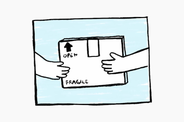 Conceito sem contato de vetor de doodle de entrega de encomendas de compras