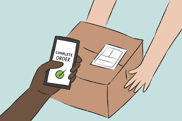 Conceito sem contato de vetor de doodle de entrega de encomendas sem dinheiro