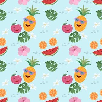 Conceito sem emenda do verão do teste padrão bonito do vetor da fruta.