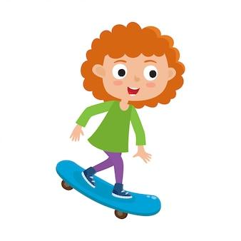Conceito skateboarding da atividade do verão, ilustração da menina do skater que monta no skate no estilo dos desenhos animados isolado no fundo branco.