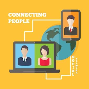Conceito social da conexão de rede dos media com avatars do usuário ao redor do mundo. vector design plano.
