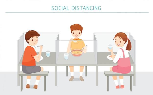 Conceito social de distanciamento, cafeteria da escola novo estilo de proteção contra covid-19, doença de coronavírus, crianças que comem comida na escola