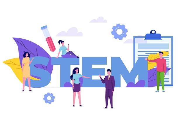 Conceito stem. ciência, tecnologia, engenharia, matemática. ilustração vecnor