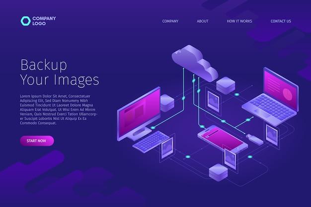 Conceito tecnológico para fazer upload de imagens na página de destino