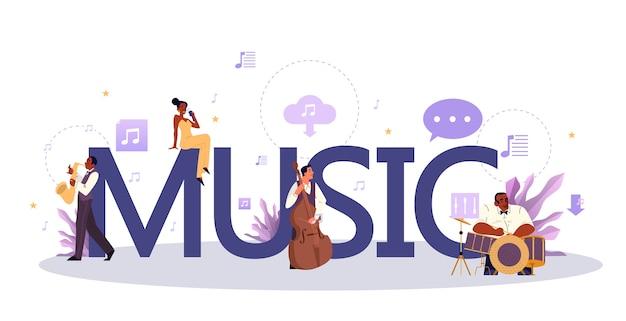 Conceito tipográfico de música. rock pop moderno ou intérprete clássico, músico ou compositor. jovem intérprete tocando música com equipamento profissional. .