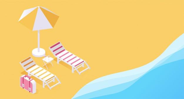 Conceito tropical do recurso de férias 3d do verão. duas espreguiçadeiras à beira-mar, areias oceânicas