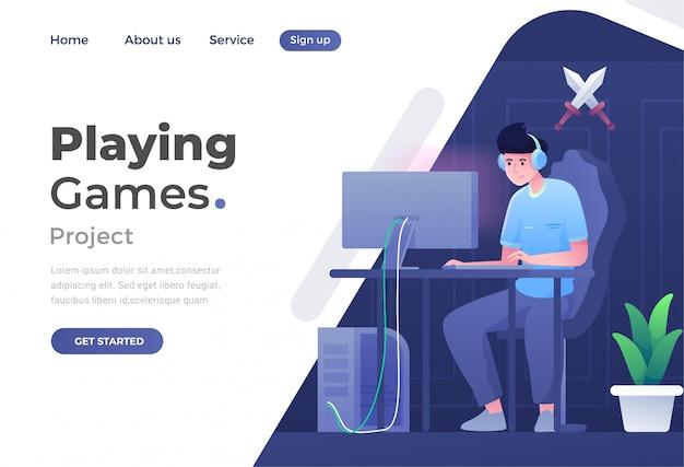 Conceito único de design moderno e plano de jogos para site e site móvel
