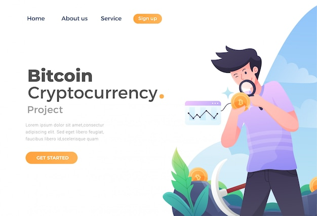 Conceito único e moderno de design plano de criptomoeda bitcoin para site e site móvel