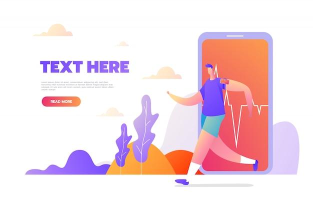 Conceito único moderno design plano de atividade esportiva para o site e site móvel. modelo de página de destino. ilustração vetorial