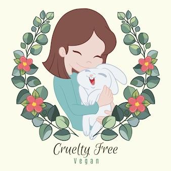Conceito vegano e livre de crueldade desenhado à mão ilustrado