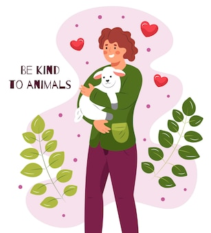 Conceito vegano e sem crueldade desenhado à mão com uma mulher segurando ovelhas