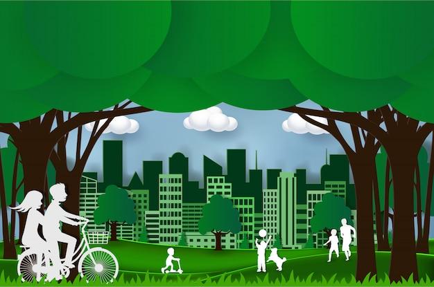 Conceito verde da cidade eco amigável. artes, artesanato e papel