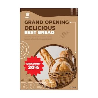 Conceito vertical de panfleto de pão