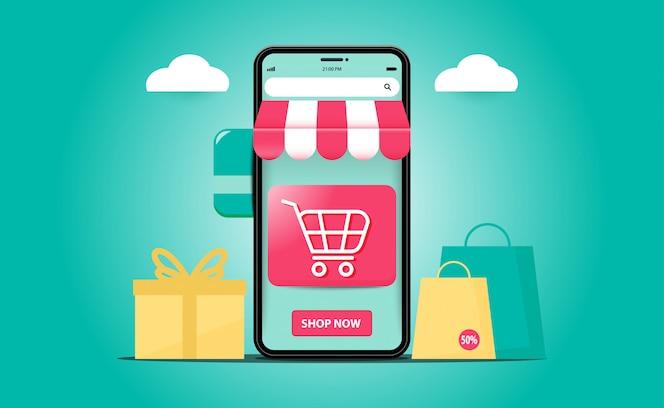 Conceitos de aplicativos móveis de sites de compras on-line. marketing digital com smartphone