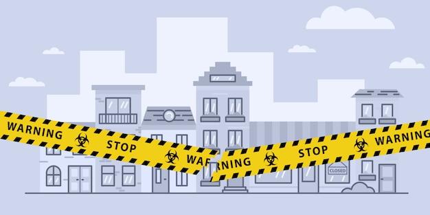 Conceitos de bloqueio aberto após surto de pandemia de coronavírus. fita amarela rasgada sobre a cidade. ilustração conservada em estoque
