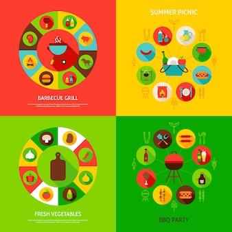 Conceitos de churrasqueira. ilustração em vetor de infográficos para churrasco com ícones planas.