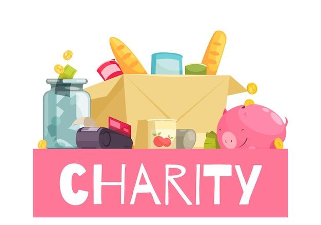 Conceitos de coleta de caridade com ilustração de doodle