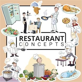 Conceitos de cozinha e restaurante