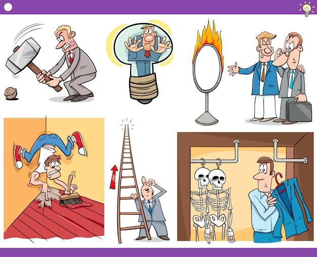 Conceitos de desenhos animados e provérbios