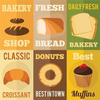 Conceitos de design plano de padaria