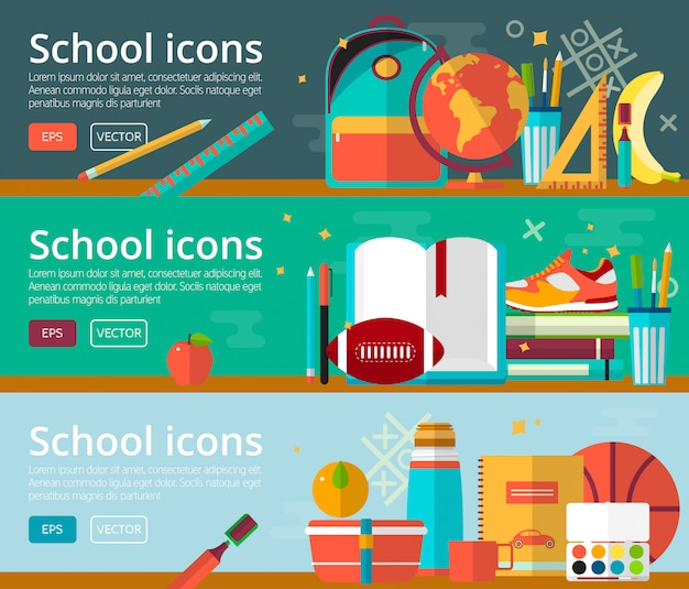 Conceitos de design plano de vetor de banner de educação