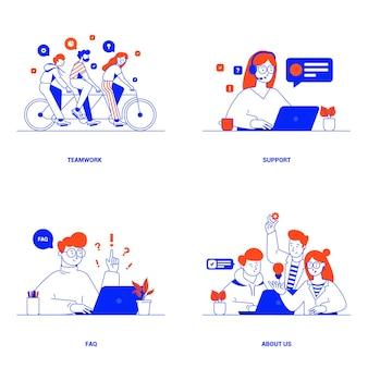Conceitos de design plano moderno de trabalho em equipe, suporte, perguntas frequentes e sobre nós