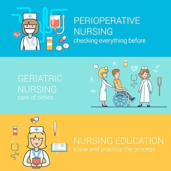 Conceitos de equipe médica plana linear definida para o site. enfermeira com paciente em cadeira de rodas, educação, cuidados de saúde perioperatórios