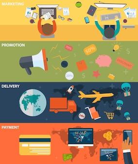 Conceitos de finanças de negócios em design plano