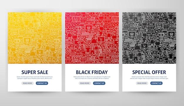 Conceitos de folheto de sexta-feira negra. ilustração em vetor de desenho de banner da web de contorno.