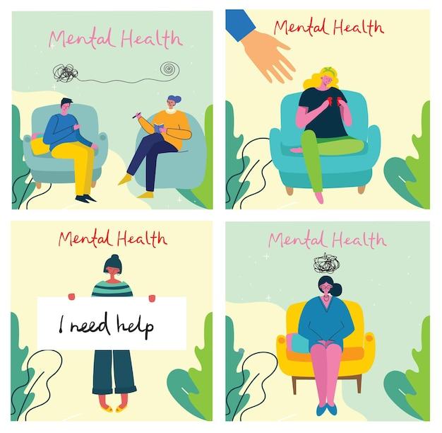 Conceitos de ilustração de saúde mental