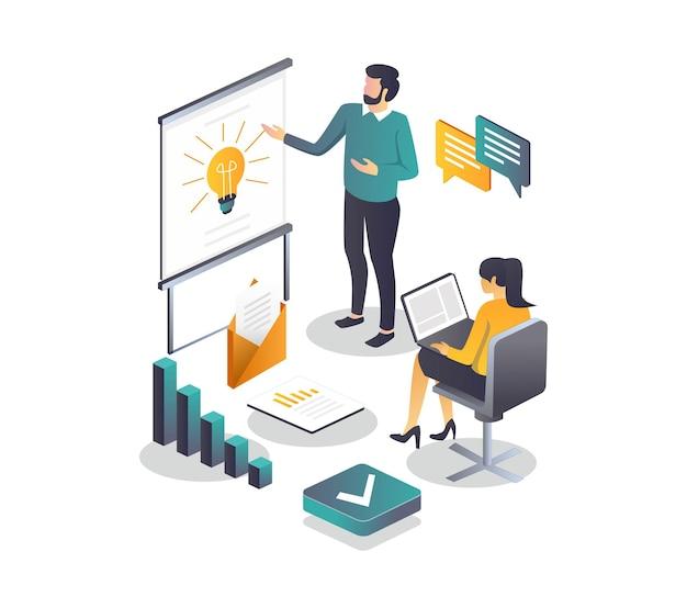 Conceitos de ilustração isométrica plana, implementação de projeto e trabalho em equipe ou métodos e soluções