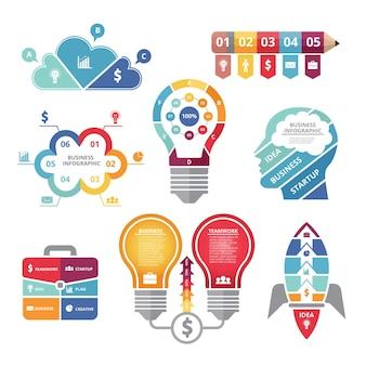 Conceitos de infográficos com várias formas de bulbo, foguete, business case e perfil de cabeça.
