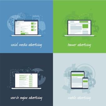 Conceitos de marketing e publicidade na internet em modelo de vetor plano