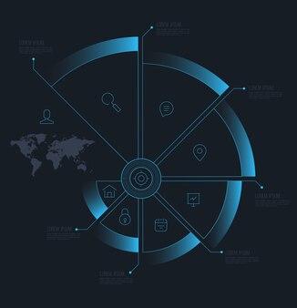 Conceitos de negócios de passo de círculo de vetor com ícones de linha
