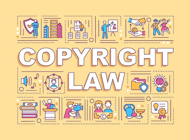 Conceitos de palavra da lei de direitos autorais. protegendo a propriedade intelectual.