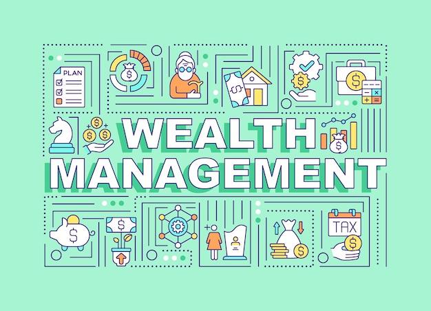 Conceitos de palavra de gestão de riqueza. crie liberdade financeira para a pessoa.