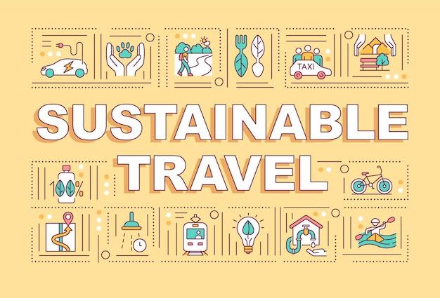 Conceitos de palavra de viagens sustentáveis. turismo sem agredir os ambientes naturais.