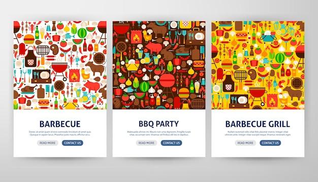 Conceitos de panfleto de churrasco. ilustração em vetor de desenho de banner da web de contorno.