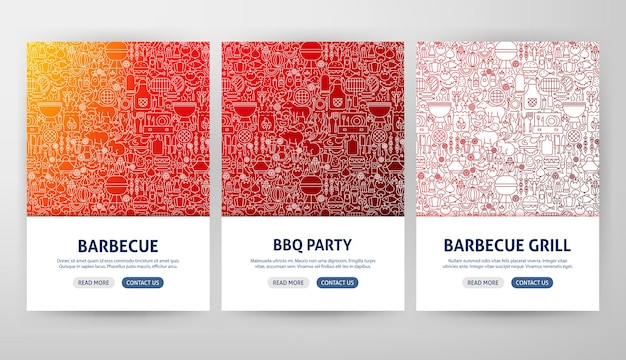 Conceitos de panfleto de churrasqueira. ilustração em vetor de desenho de banner da web de contorno.