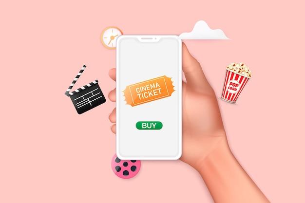 Conceitos de pedido de ingresso de cinema online mão segurando smartphone móvel com aplicativo de compra online 3d