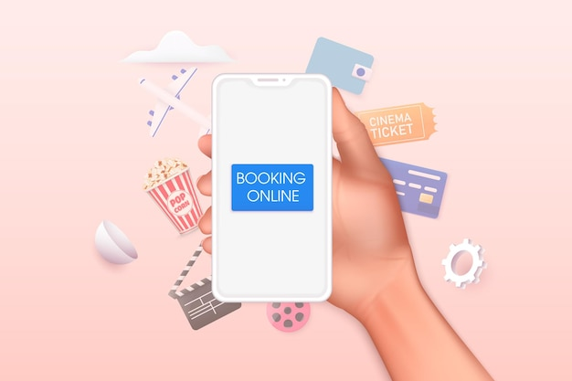 Conceitos de reserva de ingressos de cinema on-line mão segurando um smartphone móvel com aplicativo de livro on-line