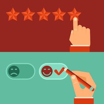 Conceitos de revisão de cliente de vetor em estilo simples